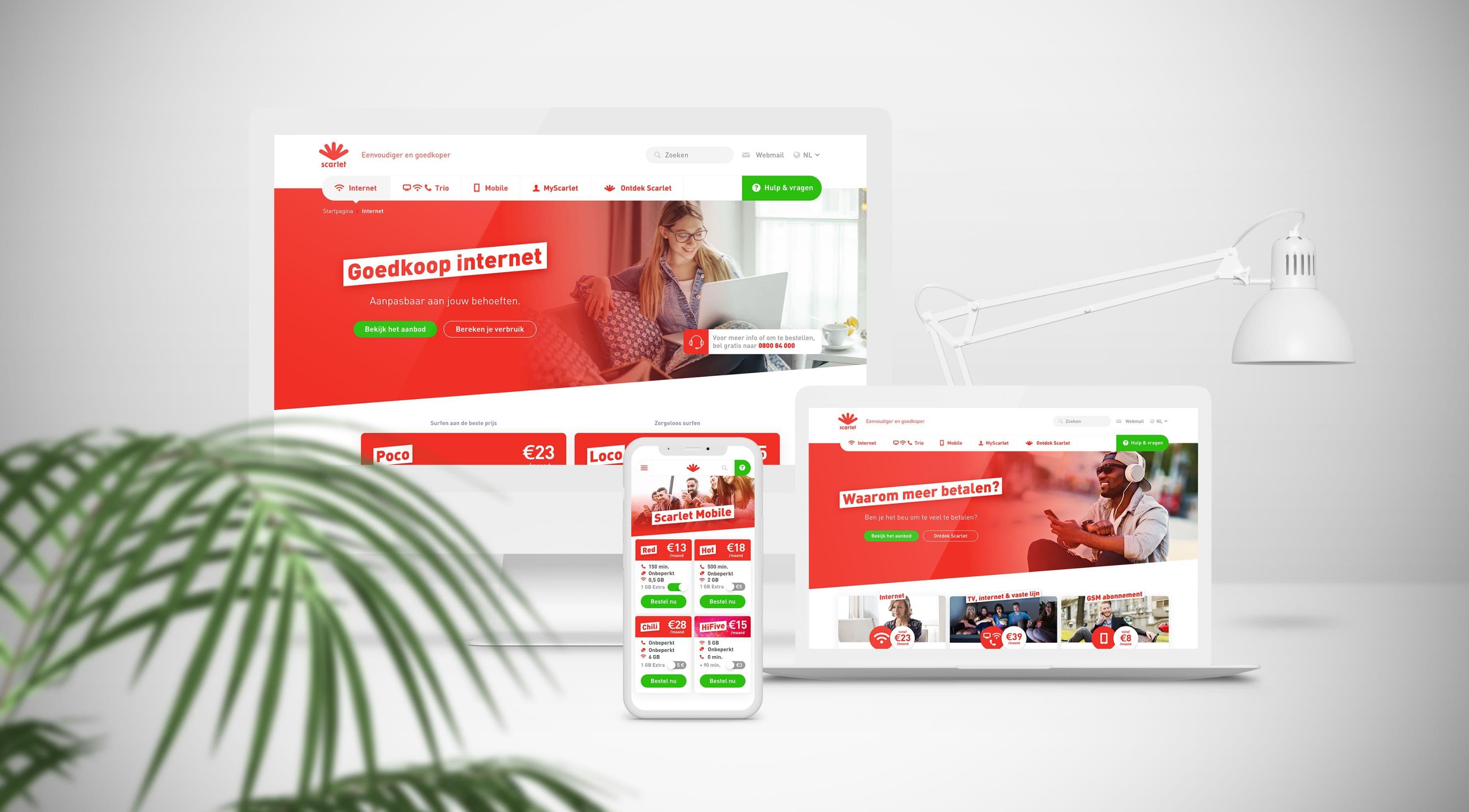 Scarlet website op verschillende toestellen